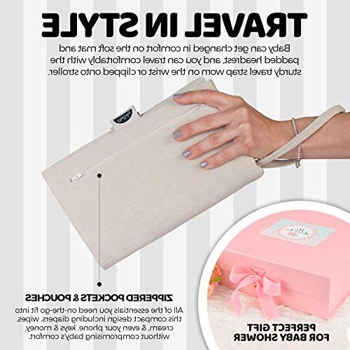 MoBaby Luxurious Soft-as-Suede Change Clutch, Machine Washable, Chic Change Station Baby, Infant, Newborn, Gray Color