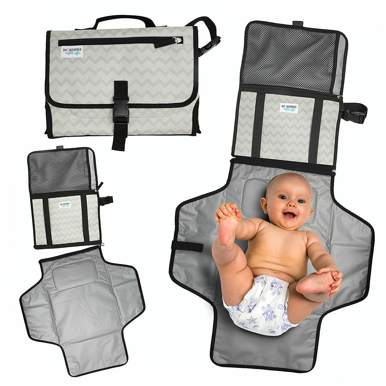 Portable Changing Station Diaper Clutch with Detachable Pad,