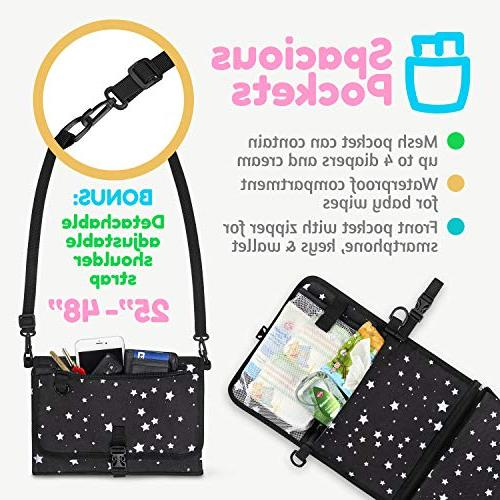Baby Diaper Clutch with Waterproof Travel Station Kit Black with White