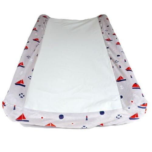 wipeable contour baby changing pad cover nautical