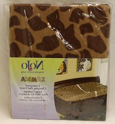 New NoJo Zambia Contoured CHANGING TABLE PAD COVER Brown Gir
