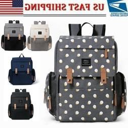 LAND Mommy Backpack Diaper Bag w/ Roller Hook Baby Nappy Cha