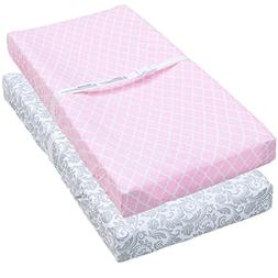 Leakproof Changing Pad Covers, 2 Pack Pink Quatrefoil & Flor