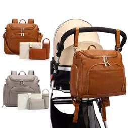 Leather PU Mummy Diaper Backpack Baby Nappy Travel Insulatio