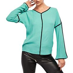 ANJUNIE Womens Long Bell Sleeve Loose T-Shirt Solid Casual S