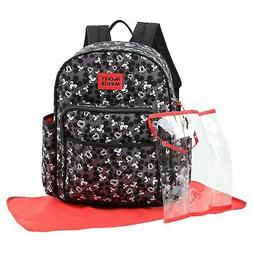 Disney Mickey Mouse Toss Head Print Backpack Diaper Bag, Bla
