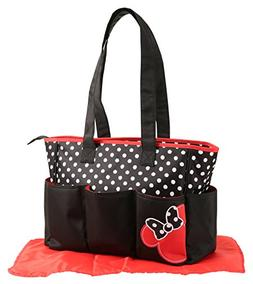 Disney Minnie Mouse Triple Pocket Tote Diaper Bag, Dots Prin