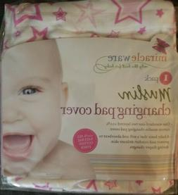 Miracleware Muslin Changing Pad Cover Pink Stars