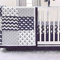 Nautical Whales and Anchors Navy 3 Piece Crib Bedding Set by
