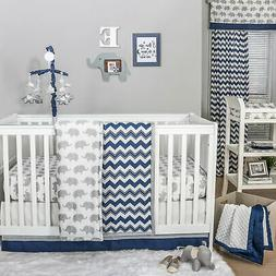 Navy Chevron and Grey Elephant 3 Piece Baby Crib Bedding Set