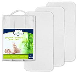 Best NON-SLIDE Bamboo Changing Pad Liners - 3-Pack, Thicker