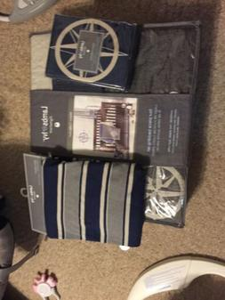 NWT Lambs & Ivy Mason Collection Blue Beige Baby Blanket cri