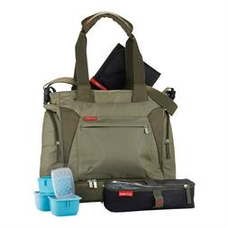 SKIP HOP OLIVE GREEN BENTO MEAL TO GO LARGE DIAPER BAG TOTE