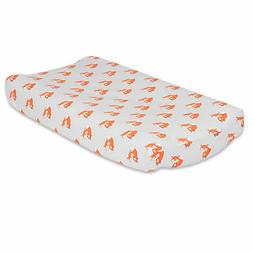 Orange Fox on Grey Changing Pad Cover by The Peanut Shell