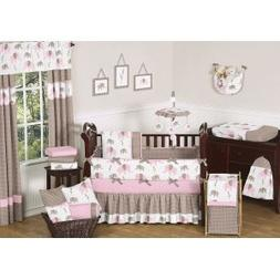 Sweet Jojo Designs Pink and Brown Mod Elephant Baby Changing