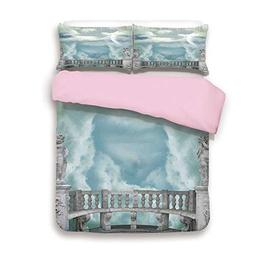 Pink Duvet Cover Set,Twin Size,Balcony in the Sky with Angel
