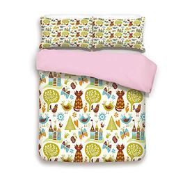 Pink Duvet Cover Set,FULL Size,Cats Birds and Butterflies wi