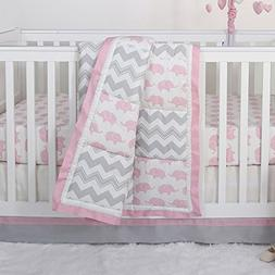 Pink Elephant and Grey Chevron Patchwork 3 Piece Crib Beddin