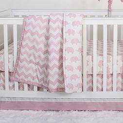 Pink Zig Zag and Elephant 3 Piece Baby Crib Bedding Set by T