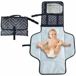 Portable Changing Mat Cushioned Diaper Changing Pad with Bui