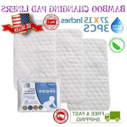 Premium 4-Layer Bamboo Changing Pad Liners Reusable Waterpro