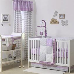 Purple and Grey Woodland and Geometric 3 Piece Crib Bedding