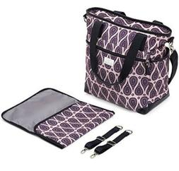 Purple Paisley Diaper Bag Large Capacity With Changing Pad &
