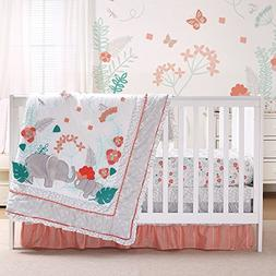 Safari Love 4 Piece Baby Girl Elephant Garden Crib Bedding S