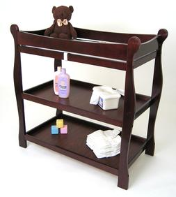 Secured Wooden Changing Table 2 Shelves Safety Belt Foam Pad