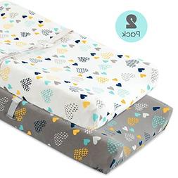 Stretch Fitted Changing Pad Cover -2 Pack Stretchy Changing