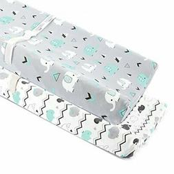 Stretchy Changing Pad Covers for Boys Girls,2 Pack Jersey Kn