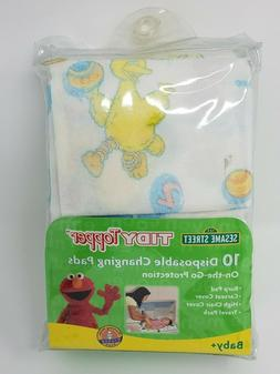 Sesame Street Tidy Topper 10 DISPOSABLE BABY CHANGING PADS N