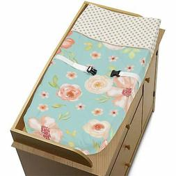 Watercolor Floral Turquoise Peach Gold Sweet Jojo Diaper Cha