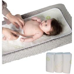 Waterproof Bamboo Baby Diaper Changing Pads 3 Pack - Extra S