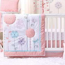 Wildflower 6 Piece Baby Crib Bedding Set - Coral, Purple - F